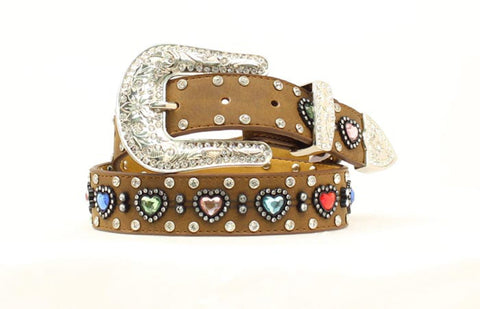 Nocona Medium Brown Leather Girls Multi Heart Belt