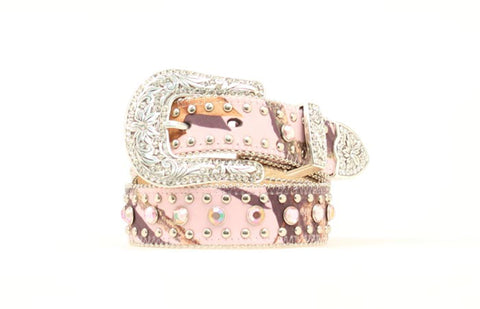 Nocona Pink Mossy Oak Leather Girls Rhinestones Belt