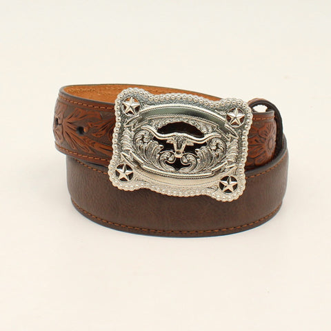 Nocona Brown Leather Boys Longhorn & Stars Belt