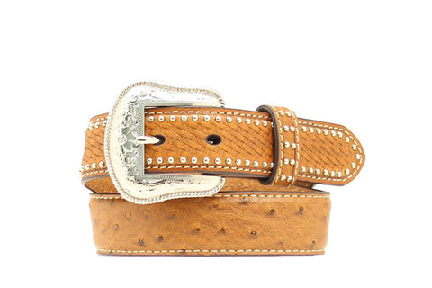 Nocona Brown Leather Boys Ostrich Print Studs Belt