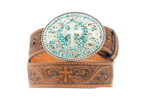 Nocona Brown Leather Girls Turquoise Stones Belt