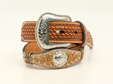 Nocona Natural Leather Boys Calf Hair Belt