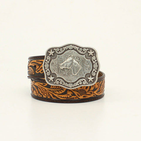 Nocona Brown/Tan Leather Boys Horse Head Belt