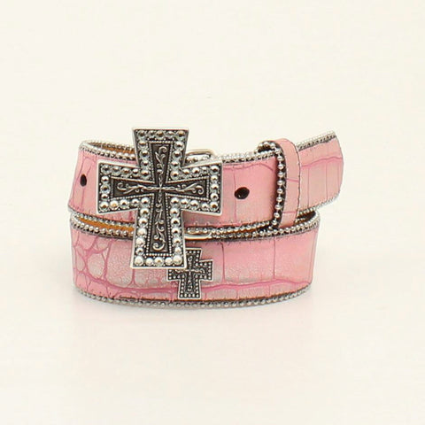 Nocona Pink Leather Girls Croc Print Bead Belt