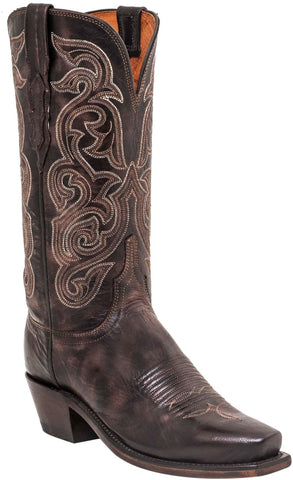 Lucchese Womens Cowboy Boots Dark Brown Goat Leather