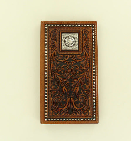 Nocona Brown Leather Nailhead Trim Rodeo Wallet