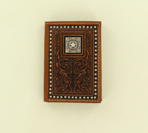 Nocona Brown Leather Nailhead Trim Trifold Wallet