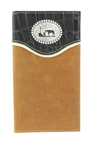 Nocona Medium Brown Leather Croc Praying Cowboy Rodeo Wallet