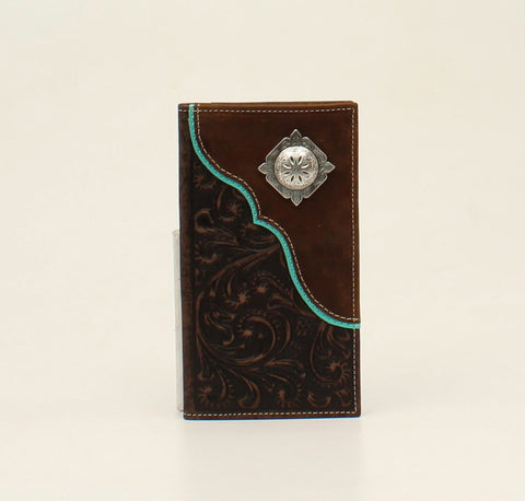 Nocona Brown Leather Turquoise Scallop Rodeo Wallet