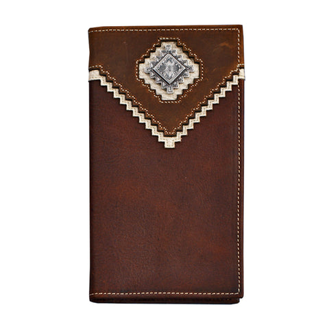 Nocona Brown Leather Aged Bark Rodeo Wallet