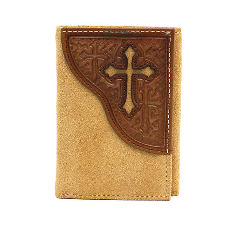 Nocona Medium Brown Leather Cross Cutout Trifold Wallet