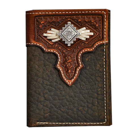 Nocona Medium Brown Leather Aztec Concho Trifold Wallet