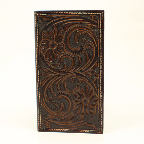 Nocona Brown Leather Large Floral Rodeo Wallet