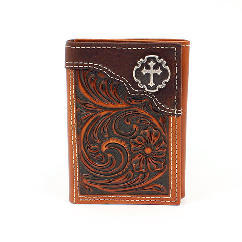 Nocona Tan Leather Cross Concho Trifold Wallet