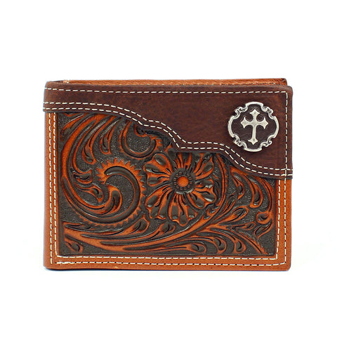 Nocona Tan Leather Cross Concho Bifold Wallet