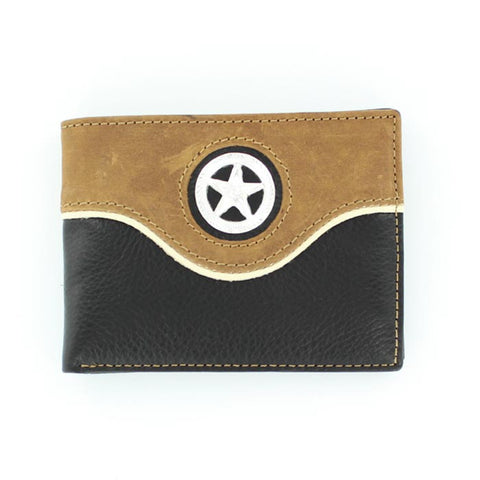Nocona Black Leather Lone Star Bifold Wallet