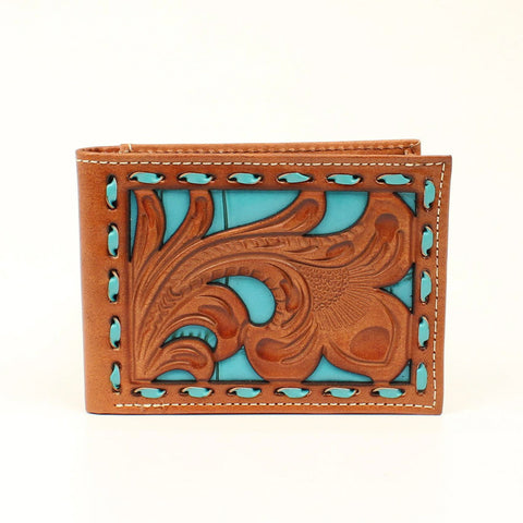Nocona Tan/Turquoise Leather Faux Croco Buck Bifold Wallet