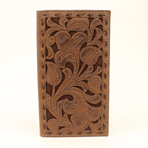 Nocona Chocolate Leather Buck Laced Rodeo Wallet