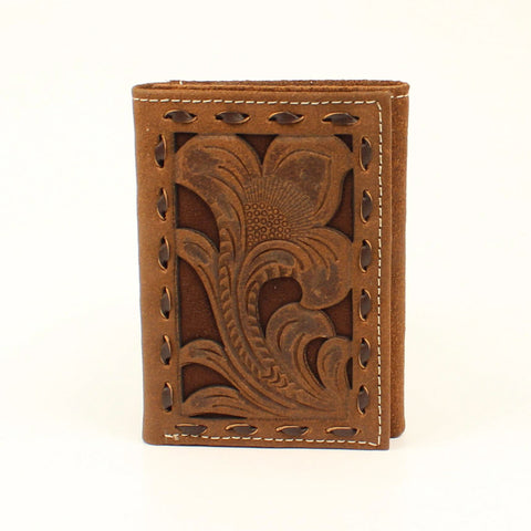 Nocona Chocolate Leather Buck Laced Trifold Wallet