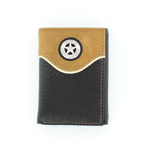 Nocona Black/Brown Leather Star Concho Trifold Wallet