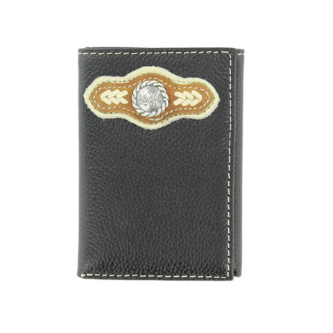 Nocona Black Leather Silver Concho Lacing Trifold Wallet