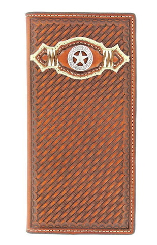 Nocona Brown Leather Basketweave Texas Star Rodeo Wallet
