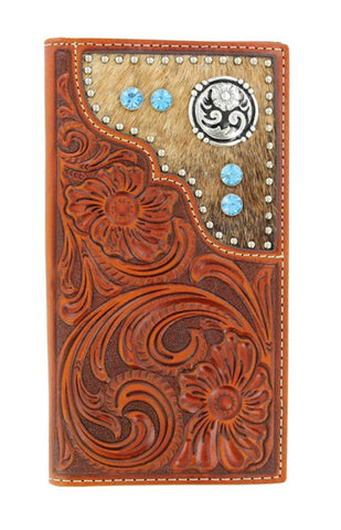Nocona Tan Leather Calf Hair Blue Stones Rodeo Wallet