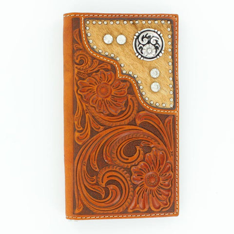 Nocona Tan Leather Calf Hair Stones Rodeo Wallet