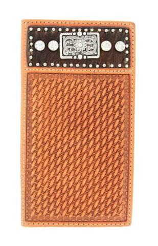 Nocona Natural Leather Calf Hair Basketweave Rodeo Wallet