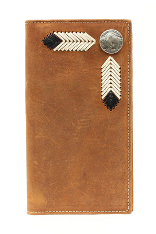 Nocona Medium Brown Leather Buffalo Nickel Concho Rodeo Wallet