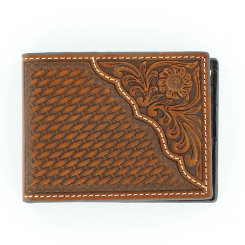 Nocona Tan Leather Basketweave Pro Series Bifold Wallet