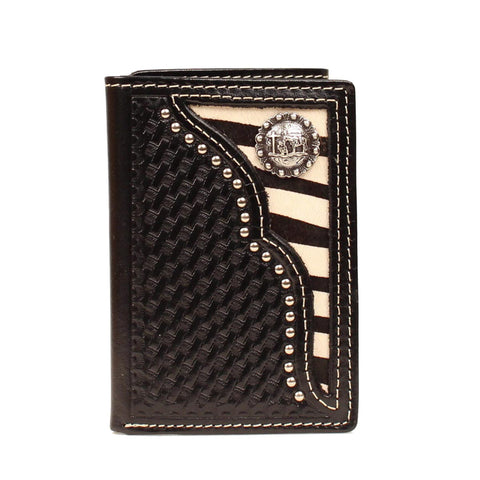 Nocona Black Leather Zebra Cowboy Prayer Trifold Wallet