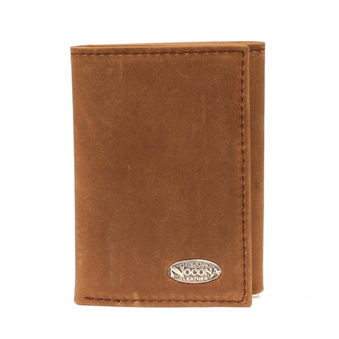 Nocona Medium Brown Leather Oval Concho Soft Trifold Wallet
