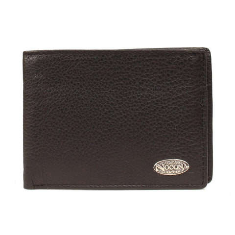 Nocona Black Leather Oval Concho Soft Bifold Wallet