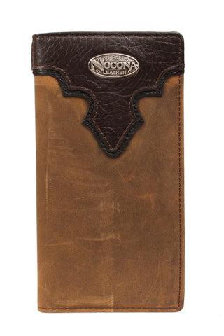 Nocona Medium Brown Leather Concho Overlay Rodeo Wallet