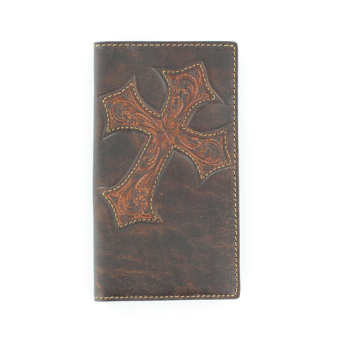 Nocona Brown Leather Lg Diagonal Cross Rodeo Wallet