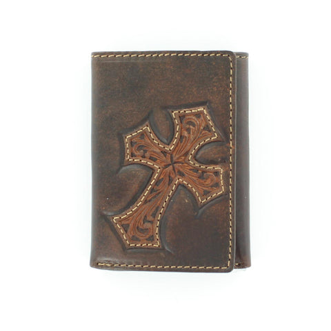Nocona Brown Leather Lg Diagonal Cross Trifold Wallet