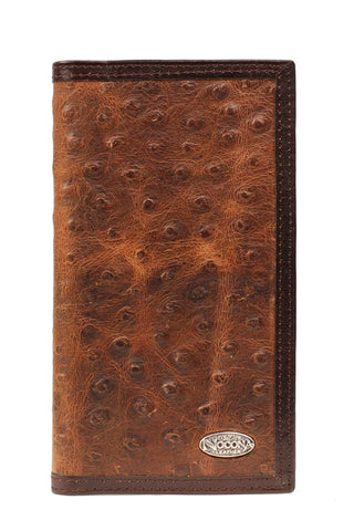 Nocona Brown Leather Ostrich Print Vintage Rodeo Wallet