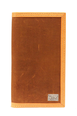 Nocona Medium Brown Leather Double Stitch Rodeo Wallet