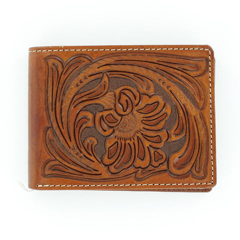 Nocona Tan Leather Floral Tool Bifold Wallet