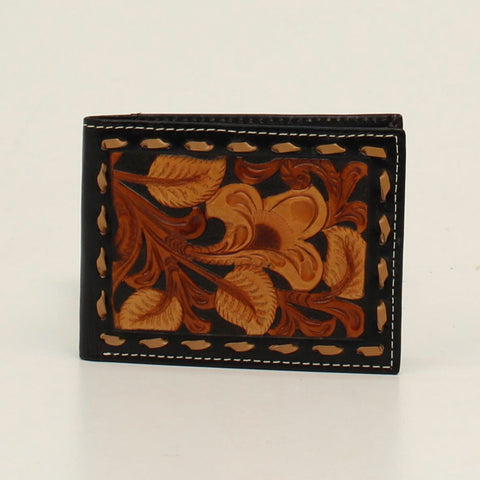 Nocona Black/Tan Leather Emboss Floral Bifold Wallet