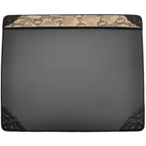 3D Black Leather Desk Top Pad Floral Tooled Snake Print Inlay