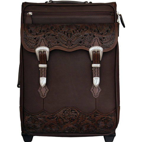 3D Chocolate Brown Leather Luggage Carry On Floral Tooled