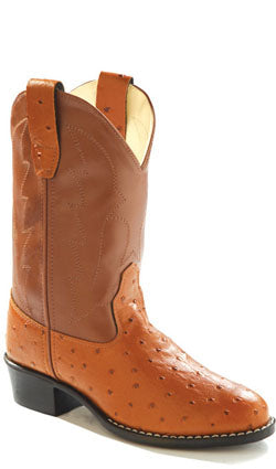 Old West Brown Childrens Boys Man Made Material Ostrich Cowboy Boots