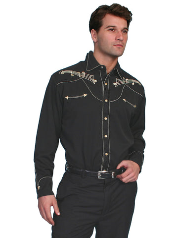 Scully Mens Shirt Western Black Poly Blend Embroidered Music Note Snap L/S