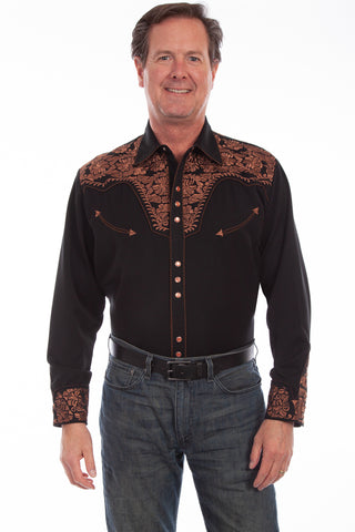 Scully Western Mens Black Polyester L/S Big Tooled Floral Western Shirt