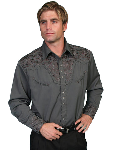 Scully Mens Shirt Western Charcoal Poly Blend Floral Tooled Stitch L/S