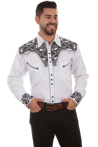 Scully Mens White/Black Poly/Rayon Tooled Floral L/S Shirt
