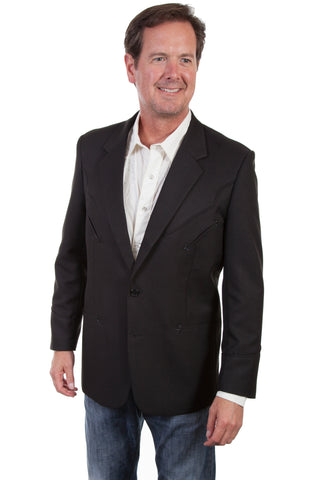 Scully Mens Black Polyester Western Blazer