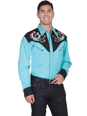 Scully Mens Shirt Western Turquoise Poly Blend Horseshoe Rose Stitch L/S